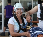 My 74-year-old mom, getting ready to zip line!